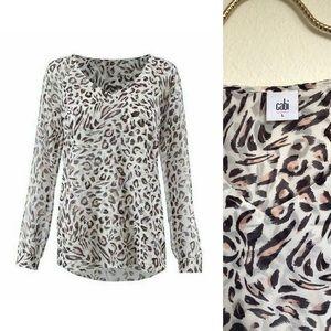 CAbi Glamour Blouse #5337 White Leopard Print Sz L
